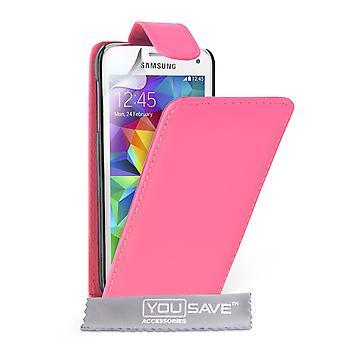 Галактика Samsung S5 кожа эффект флип случае мини - ярко-розовый