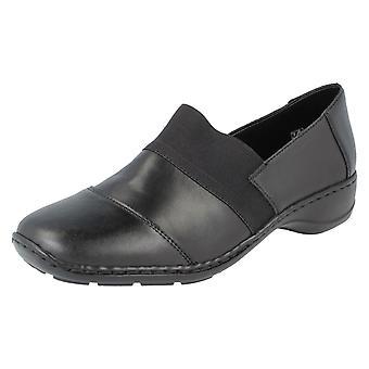 Damer Rieker platt skor 58355-00 - svart - UK storlek 6 - EU storlek 39 - US storlek 8
