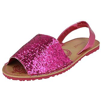 Girls Spot On Flat Mule Slingback Sandal