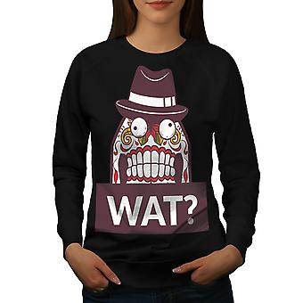 Skull What Funny Women BlackSweatshirt | Wellcoda