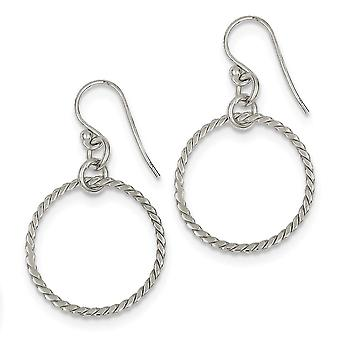 Sterling Silver Polished Circle Dangle Earrings