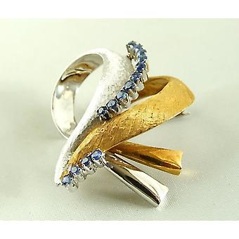 18 k bicolor gold brooch with Sapphire
