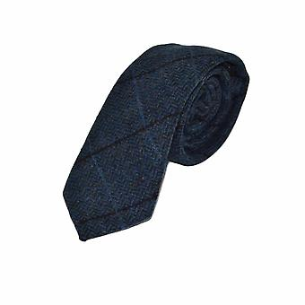 Luxury Aegean Blue Herringbone Check Tie, Tweed