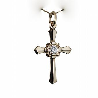 9ct Gold 25x18mm plain ornate shape Cross set with Cubic Zirconia on a curb Chain 16 inches Only Suitable for Children
