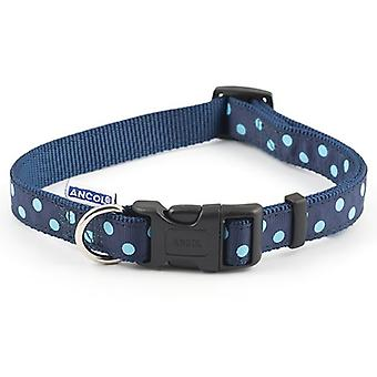 Ancol Adjustable Navy Vintage Polka Dog Collar - 20-30cm