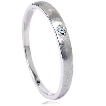 Diamond Brushed Promise Ring 14K White Gold