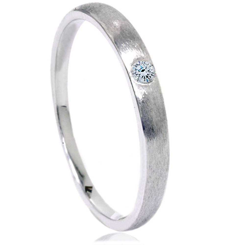 Diamond Brushed Promise Ring 14K blanc or