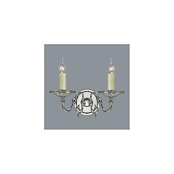 Interiors 1900 Tilburg 2 Light Wall Fitting In Polished Nickel
