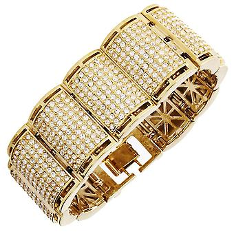 Iced out bling hip hop bracelet wristband - RICK ROSS gold