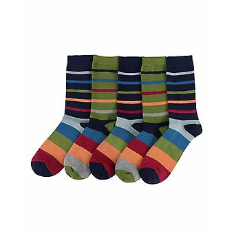 Jarvis-Stripe men's soft bamboo crew socks 5pk   By Thought
