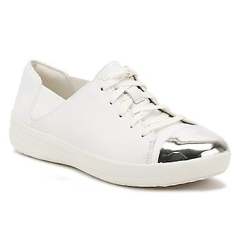 FitFlop Womens Urban White F-Sporty Mirror-Toe Trainers