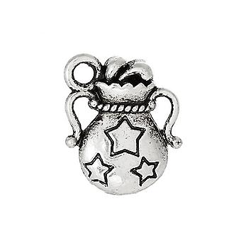 Packet 8 x Antique Silver Tibetan 14mm Lucky Bag Charm/Pendant ZX12630