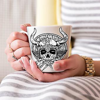 戦争死頭蓋骨ホラー ホワイト ティー コーヒー セラミック カフェラテ マグカップ 17 oz |Wellcoda