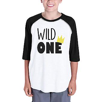 Wild One Crown Kids Cute Raglan Shirt Family Matching T-Shirt Gifts