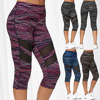 Ladies Mesh Capri Pants Sport Treggings 7/8 Fitness Trousers Cropped Stripes