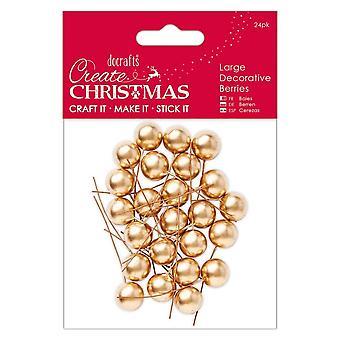 DoCrafts grandes bayas decorativas oro 24 Pack * * *