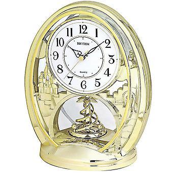 Orologio al quarzo orologio oro tono ritmo con rotazione reception pendolo da tavolo orologio 25 x 21 cm