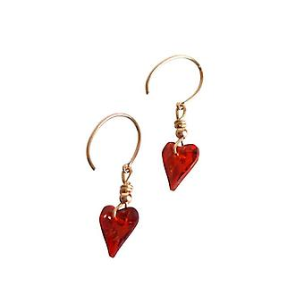 Crystal heart earrings red SURI earring with Crystal gold plated items