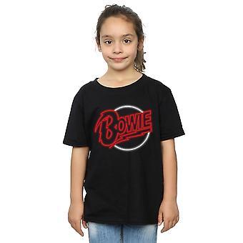 デヴィッド ・ ボウイの女の子ネオンのロゴ t シャツ