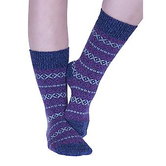 Figsbury women's Fairisle wool boot sock in denim | English-made by Scott-Nichol