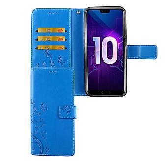 Huawei Honor 10 Handy-Hülle Schutz-Tasche Cover Flip-Case Kartenfach Blau