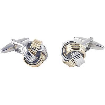 David Van Hagen Metal Ribbed Knot Cufflinks - Silver/Gold