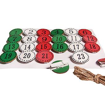 24 MDF Numbered Discs on Pegs for Christmas Advent Calendar Crafts