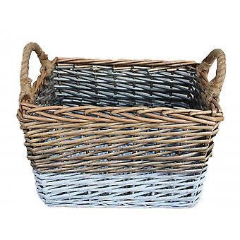 Small Rectangular Triple Tone Chunky Wicker Storage Basket