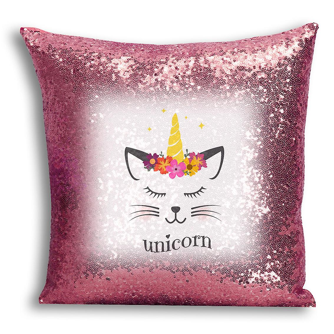 Inserted CushionPillow Cover For Gold Home Printed Sequin 2 Design Rose I tronixsUnicorn Decor With WH2YEDI9