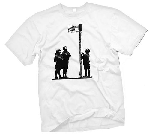 Heren T-shirt-Banksy Graffiti kunst