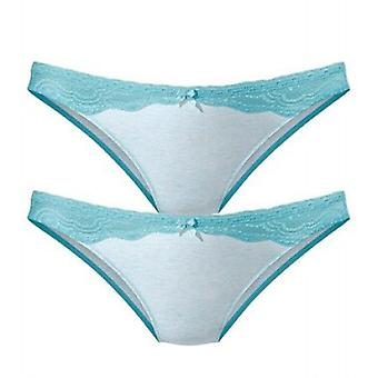 Turquoise vivance stylish lace slip with ornamental loop in 2-Pack collection