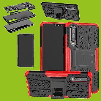 Für Huawei P30 Hybrid Case 2teilig Outdoor Rot Tasche Hülle Cover Schutz