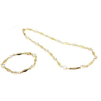 Goldtone Rhinestone Necklace & Bracelet Set  in Window Gift Box