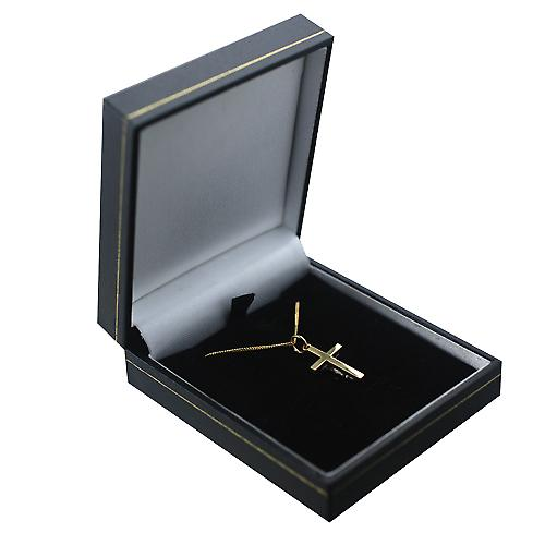 18ct Gold 20x12mm solid block Crucifix Cross with a curb Chain 16 inches Only Suitable for Children