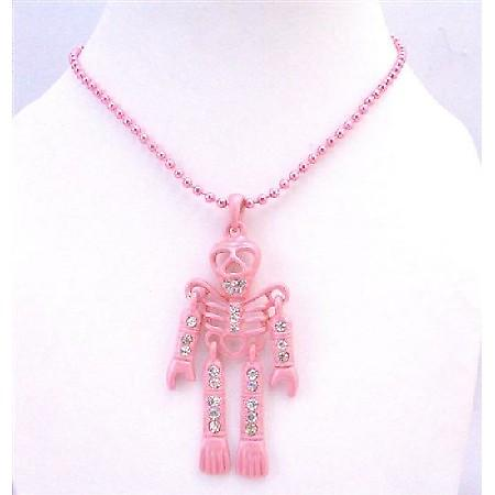 Sexy Pink Halloween Skeleton Pendant Necklace Fully Body Cubic zircon