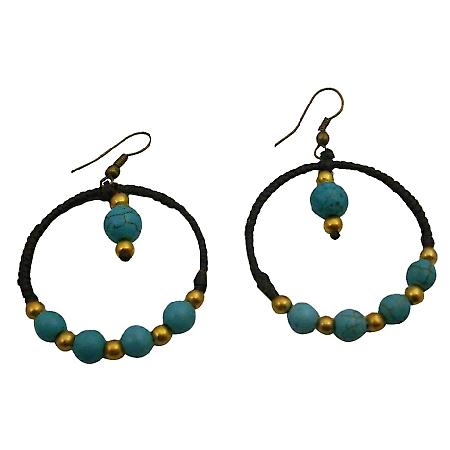 Turquoise Boho Style Earrings Round Wire Wax Cord Knitted Earrings