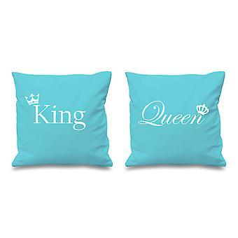 الملك والملكة تاج أكوا وسادة تغطي 16