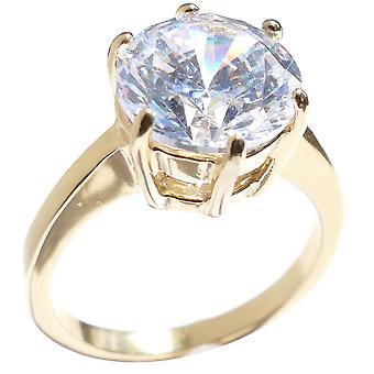 Ah! Bijoux en acier inoxydable Solitaire bague en diamant simulé