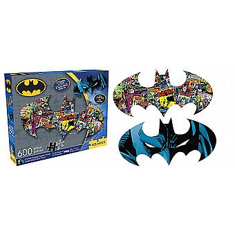 Batman shaped 600 piece double sided jigsaw puzzle 810mm x 280mm (nm)
