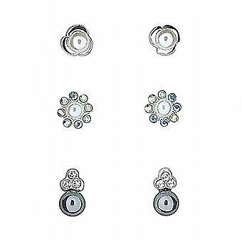 TOC Sterling Silver Simulated White & Grey Pearls Rhinestone Set Studs - 3 Pairs