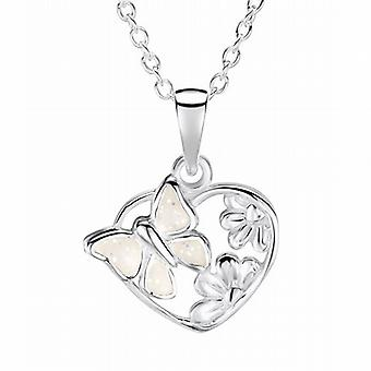 Jo For Girls Sterling Silver Sparkly White Butterfly Heart Pendant Necklace 14