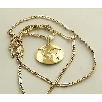 Gold necklace with World card Pendant