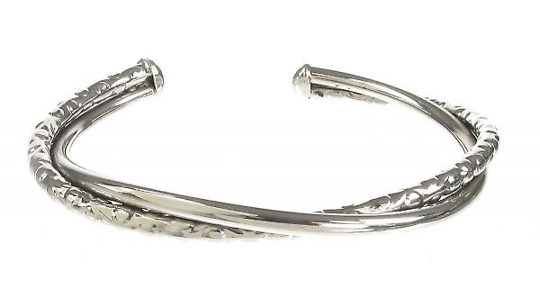 Cavendish French Sterling Silver Textured And Smooth Twist Bangle