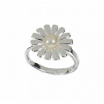 Cavendish French Spiky Petal Sterling Silver and Pearl Daisy Ring