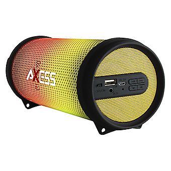 Axess Mini Portable Hi-Fi Bluetooth Speaker with Dancing LED Lights - Yellow