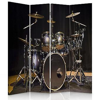 Room Divider, 4 Panels, Double-Sided, 360 ° Rotatable, Canvas, Drum Kit