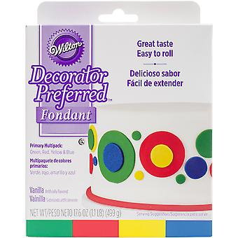 Ready-To-Use Rolled Fondant 4.4oz 4/Pkg-Primary W102311