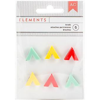 Elements Shaped Brads 6/Pkg-V-Corners 373343