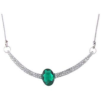 Green Diamante and Clear Crystal Cambered Pendant Necklace Chain