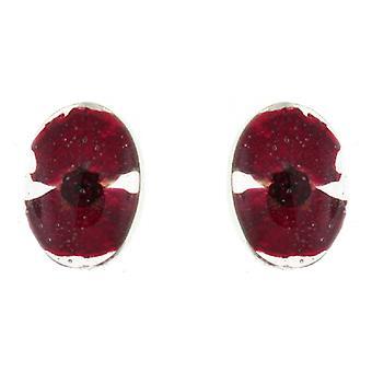 Shrieking Violet Sterling Silver Red Poppy Flower Oval Stud Earrings